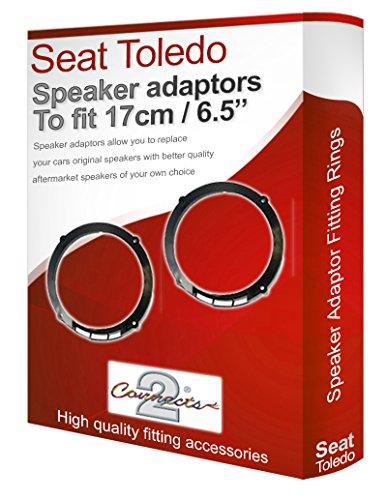 SEAT TOLEDO Adaptateur pour haut-parleur gousses Porte arrière 17 cm Fixation 16,5 cm Anneaux Adaptateurs