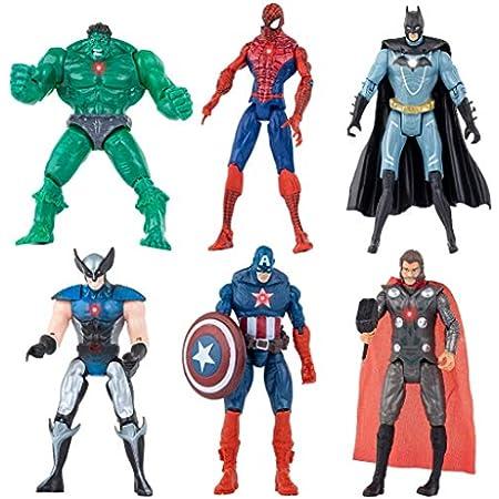Superhero Action Figures Action Figure Set / 6PCS,Superman,Batman, Hulk, Thor, Ironman Captain America PVC Figure Toy Dolls Legends Collectible Model Gift