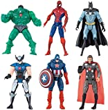 New Set Superhero Action Figures - 6 PCS Action Figure Set - Batman, Superman, Hulk, Thor, Ironman, Captain America PVC Figure Toy Dolls – Hero Cake Toppers 5-6inch Action Figure Set