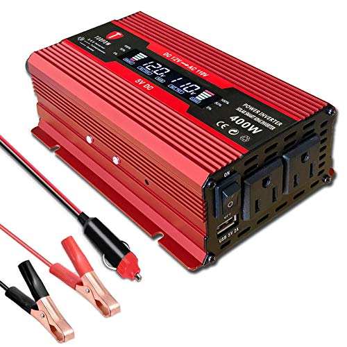 Toopow 400W Power Inverter DC 12V to 110V AC Converter with Digital LCD Display 2A USB Car Charger Adapter for RV Phones Tablets PC Laptops