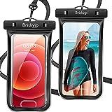 2枚セット 防水ケース スマホ用 指紋認証/Face ID認証対応 IPX8認定 完全保護 防水携帯ケース 完全防水 タッチ可 顔認証 気密性 完全防水 iPhone 12 Pro/ iPhone 11 Pro Max/iPhone11/iPhoneXR/X/8/8plus/Android スマートフォン6.5インチ以下全機種対応 ネックストラップ&アームバンド付き 水中撮影 お風呂 海水浴 水泳など適用 (黒/黒)