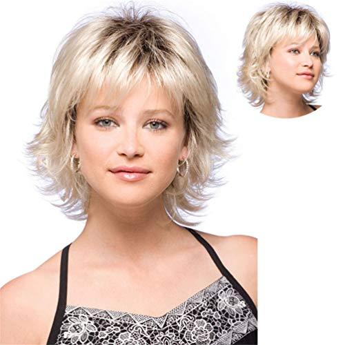 Perruque Mymgg Mesdames 30Cm Or Cheveux Courts Bouclés Rôle De Cadeau Cadeau Bonnet De Cheveux Réglable