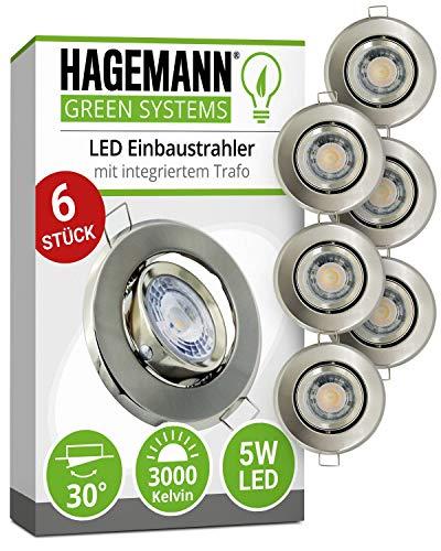 HAGEMANN® 6 x LED Einbaustrahler dimmbar 5W warmweiß (3000 K) 400lm - Ø 68mm Bohrloch - schwenkbar flach 230V Deckenspot Strahler Einbauspot