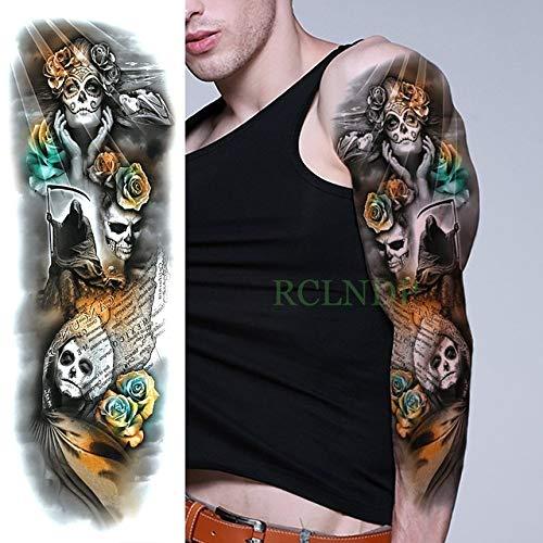 ljmljm 3 Piezas Etiqueta engomada del Tatuaje a Prueba de Agua Dragon Cool Animal Full Arm Tatto Tatoo Manga de Gran tamaño para Hombres Mujeres LadyG Blanco 48x17 cm