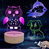Caferria 3D Night Light for Kids Toys 3D Illusion Lamp 3 Pattern and 7 Color Change Decor Lamp with Touch & Remote Control for Boys Girls Gift Birthday Present