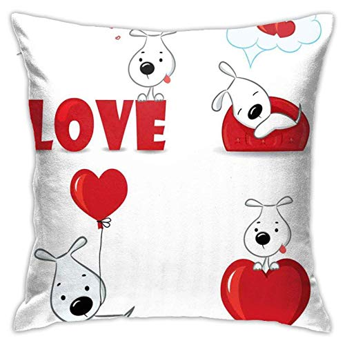 baoan Funda de cojín con diseño de perros divertidos con símbolos de corazón My Pet Best Friends Companions Ever House Animal Theme, 45,7 x 45,7 cm
