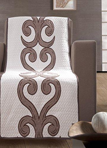 DecoKing 70x150 Creme braun Sesselschoner Sesselüberwurf Sesselläufer pflegeleicht Violet Lilac Purple Beni