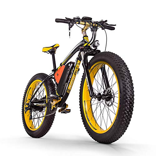 RICH BIT RT022 Electric Bike 1000W Brushless Motor 48V*17Ah Lithium Battery 26 * 4.0 inch Fat Tire e-Bike Beach Cruiser Sports Mountain Bikes (YELLOW)