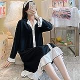 GRGFG Batas Kimonos Mujer,Camisones De Mujer Mangas Largas Negro Moda Estilo Princesa Lindo Camisón con Volantes Suave Y Suelto Cuello En V Bata Informal Camisón Largo Ropa De Hogar De Invierno, XL