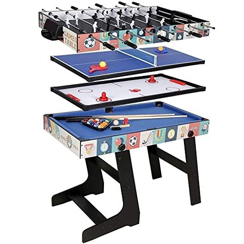 HEZHANG 4 In 1 Kombinationsspieltisch, Multifunktionstisch Geburtstagsgeschenk, Fußball Eishockey Billardtisch Tennis Arcade Tischspiele