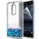 LeYi Hülle Nokia 5 Glitzer Handyhülle mit HD Folie Schutzfolie,Cover TPU Bumper Silikon Flüssigkeit Treibsand Clear Schutzhülle für Case Nokia 5 Handy Hüllen ZX Blau