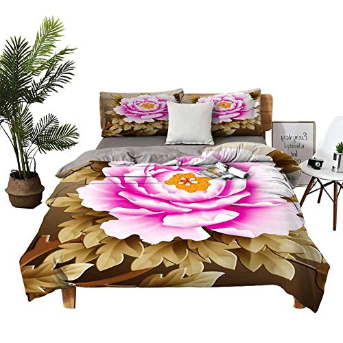 DRAGON VINES Four-Piece Bedding Full Size Bed Queen Size Bed Pink and White Fubuki Dahlia Over red and White Santa Claus Dahlia Wedding Bed W85 xL85