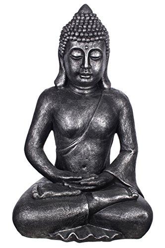 Buddha B4001 Antiksilber, für Innen und Außen, Buddha Figur XXL 64cm hoch , Buddha Statue groß, Büste, Gartendekoration, Wetterfest (nicht frostsicher) aus Kunststein (Polyresin) sehr aufwendig per Hand bemalt, sehr feine Strukturen