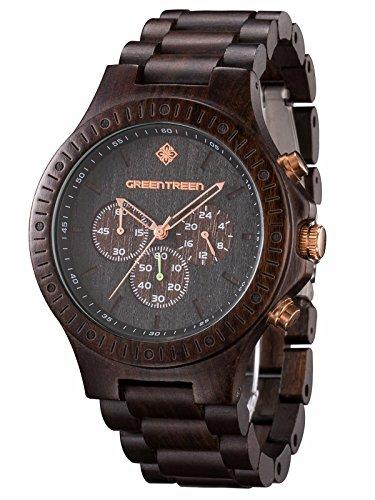 GREENTREEN Orologio ebano impermeabile multifunzione uomo cronografo legno orologi in 5ATM Resistente...