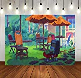 SDDSER Cartoon Background Tropical Beach Hawaiian Style Seats Photo Backgrounds for Kids Birthday Party Backdrop Photography 7X5FT MSDLS411
