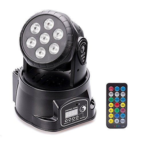 U`King DJ Lights Moving Head RGBW 4 color Stage Lighting Effect Light 7x10W LED Spotlight by Sound Activated and DMX Control with Professional 9/14 Channel for Wedding Parties KTV Disco Banquet Hall