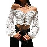 KItipeng Femme Rétro Médiévale Gothique Renaissance Tee Tops Femmes Manches Longues en Dentelle Creux Slim Chemisier Hauts Blouses T-Shirt pour Femme Fête Cocktail