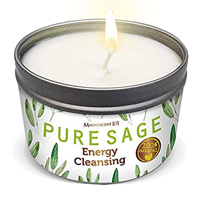 MAGNIFICENT 101 Pure White Sage Smudge Candle