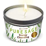 MAGNIFICENT101 Pure White Sage Smudge Candle for House Energy Cleansing, Banishes Negative Energy I Purification and Chakra Healing - Natural Soy Wax Tin Candle (Pure White Sage, 6 oz)