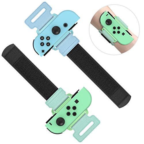 MENEEA Armbänder für Just Dance 2021 2020 2019 für Nintendo Switch Sportspiel, Verstellbarer Elastischer Gurt für JoyCon Controller, Zwei Größen für Erwachsene und Kinder, 2er-Pack (Grün und Blau)