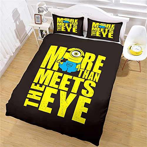 Bettbezug 1/2 Person Minions-Briefe Bettwäsche 3D Bedruckt und Kissenbezug, 135x200cm Mikrofaser Bettwäsche-Set für Erwachsene und Kinder, Komfort und Wärme