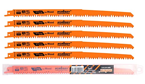 HORUSDY 12-Inch Wood Pruning Reciprocating Saw Blades, 5TPI Saw Blades - 5 Pack
