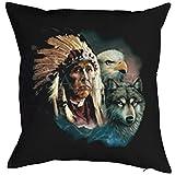 Kissen incl. Füllung, Dekokissen, Schlafkissen, Couchkissen mit USA Motiv - Adler Wolf Indianer