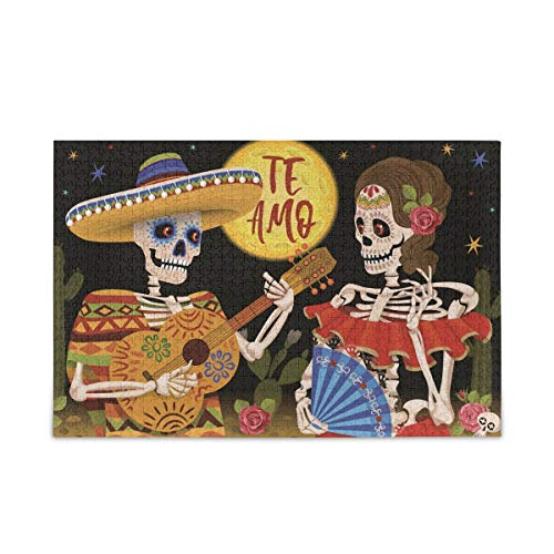 ALAZA Mexican Skeleton Day of The Dead Holiday Te Amo 500 Piece Jigsaw Puzzle Fun Family Game