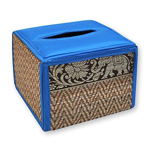 Housse pour boîte à mouchoirs carrée, bleu clair, serviettes papier, lingettes (19866)