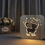 LED Nachtlicht Tier Nachtlicht Holz geschnitzt USB Lampe Kreativ Pfotenabdruck Tischlampe Holz Nachtlicht 3D Lampe Hund Pfote Katze Nachtlicht