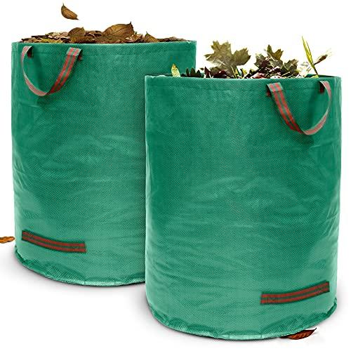 Terrauno - Gartensack 500 Liter Fassungsvermögen - 2er Pack I 150g/m² starker Gartenabfallsack mit verstärktem Boden I Faltbar mit 4 extra starken Griffen I Laubsack für Gartenabfälle