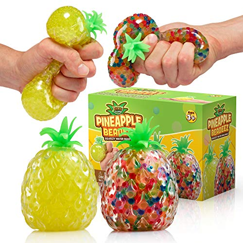 Beadeez Squishy Pineapple Stress Balls Toy (2-Pack) Tropical Fruit with Colorful, Gel Water Beads - Squeeze, Pull, and Stretch Promote Stress Relief, Calm Focus - Kids and Adults