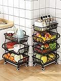 RETMI Frutero negro con 4 ruedas, 3 niveles, cesta de fruta para organizar la...