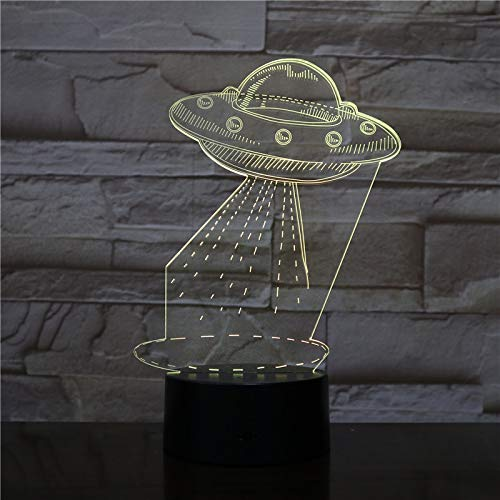 ERBEIOU UFO Alien 3D Illusion Lamp 3D Night Light for Boys Girls Table Desk Lamp 16 Color Change Decor Lamp Gifts Birthday Festival Christmas for Teens Friends
