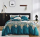 SUSYBAO 3 Piece Duvet Cover Set King Size 100% Egyptian Cotton Sateen Turquoise Paisley Bedding Set 1 Bohemian Duvet Cover with Zipper Ties 2 Pillowcases Luxury Quality Silky Soft Comfortable Durable