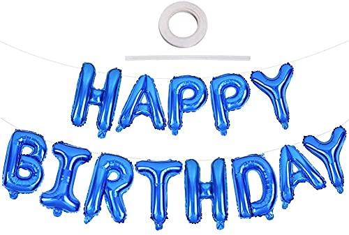 3D Foil Palloncini Happy Birthday Banner Kit-Oro, Bandiera di Buon Compleanno Palloncini Festa Decorazioni, Festa di Compleanno Scritta Palloncino Happy Birthday,Festival Decorazioni-blu