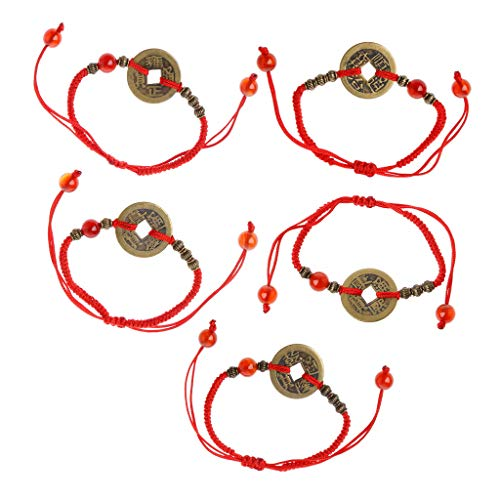 YU-HELLO _Feng Shui I Ching Antigua Moneda Cabalá Red String Attract Luck Wealth Pulseras