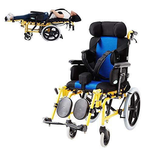 ZZYYZZ Silla de Ruedas pediátrica, diseño reclinable con Escritorio abatible y reposapiés elevables Silla de Ruedas Manual para niños, Asiento de 22