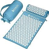 BREEVIN Akupressurmatte mit Kissen - Akupunkturmatte gegen Rückenschmerzen Löst Verspannungen Fördert Durchblutung - Fakirmatte-Set inkl. Tragetasche (Himmelblau)