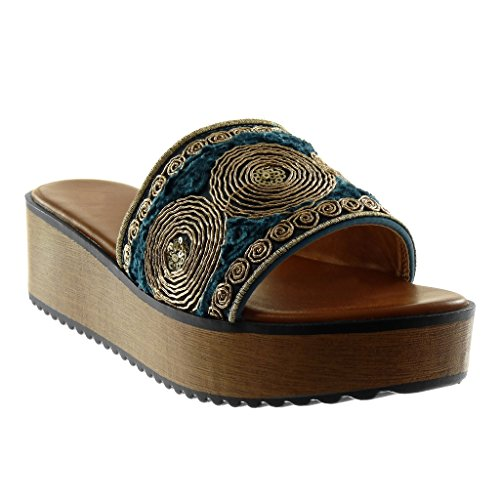 Angkorly - Damen Schuhe Mule Sandalen - Slip-On - Plateauschuhe - Fantasy - Bestickt - Wooden Keilabsatz high Heel 5.5 cm - Blau 660-5 T 37