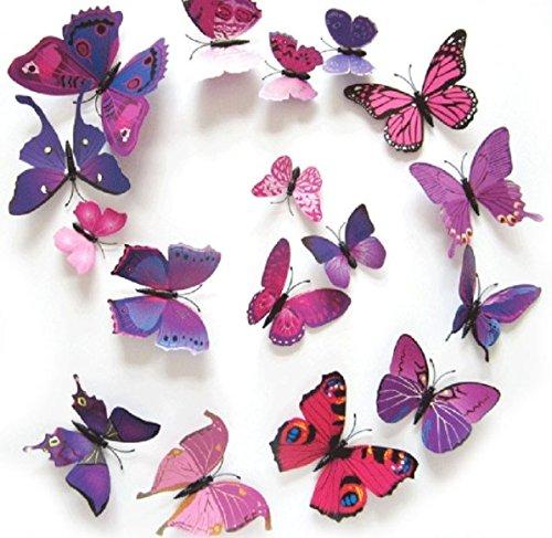 Unbekannt Decorazione Farfalla magneti 12 Pezzi Decorazione Molti Colori (Viola)