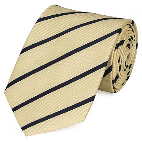 Fabio Farini - Elegante Herren Krawatte gestreift in 8cm Breite in verschiedenen Farben für jeden Anlass wie Hochzeit, Konfirmation, Abschlussball Sandfarben Schwarz