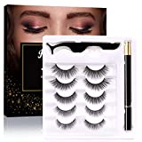Lashes and Eyeliner Kit 5 Pairs of Different Styles Reusable 5D False Eyelashes with Magic Liquid Eyeliner and Tweezer Easy to Apply No-Glue No-Magnetic Needed