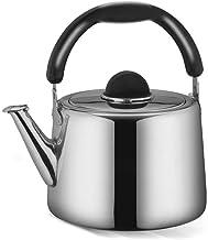 Nfudishpu Tetera de Acero Inoxidable Pulido Whistling Tea Kettle con Mango Redondo Resistente al Calor, Adecuado para la Superficie de la Estufa (Tamaño: 4L)