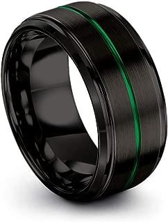 Tungsten Carbide Wedding Band Ring 10mm for Men Women Green Red Fuchsia Copper Teal Blue Purple Black Center Line Step Bevel Edge Black Brushed Polished