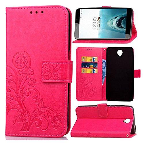 Guran® Funda de Cuero PU para Cubot Max Smartphone Función de Soporte con Ranura para Tarjetas Flip Case Trébol de la suerte en Relieve Patrón Cover - Rosa roja