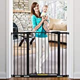 KingSo 48.8' W x 36' H Baby Gate Extra Tall Wide Large Dog Gate Auto Close Safety Gate Durable Walk Thru Child Gate for Stairs Doorways. Include 4 Pressure Bolts, 2.75', 5.5' & 8.25' Extension, Black