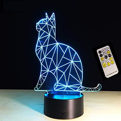 Luz de la noche Precioso Gato 3D Animal Lámpara Remoto/Táctil Swithc Led 7 Colores Usb Lámpara Para La Decoración Casera Como Niños Juguete de Regalo