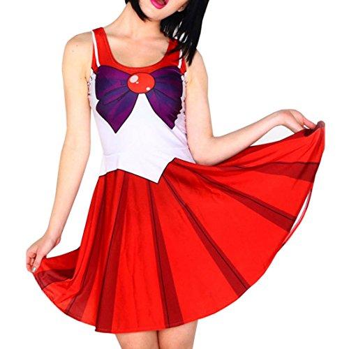 Qushy Sailor Mars Luna Costume Party Cosplay Skater Dress