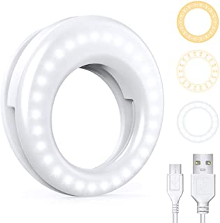 Clip On Ring Light, VINSIC Rechargeable Selfie Circle Light, Portable Clip on Selfie Light Ring for iPhone, Laptop, Androi...